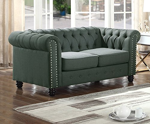 U.S. Livings Lilyana Modern Living Room Chesterfield Sofa Set (Loveseat, Olive)