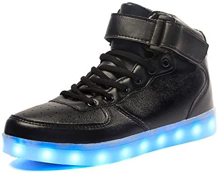 Voovix Kinder High-Top LED Licht Sneaker mit Fernbedienung-USB Aufladen LED Schuhe