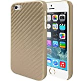 Caseology Apple iPhone 5 / 5S [Carbon Fiber Slim] - Ultra Slim Premium Twill Weave Carbon Fiber Fabric with Protective TPU Snap-On Hard Case (Gold)