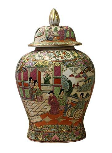 Chinese Oriental Famille Rose Porcelain People Scenery Flat Jar Acs3049