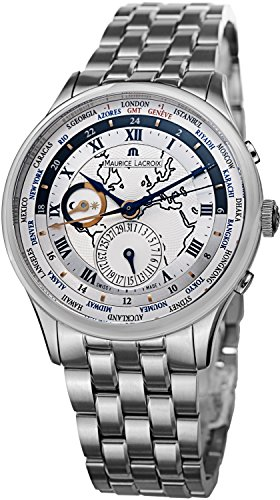 Maurice Lacroix Men's Masterpiece Silver Dial Stainless Steel Worldtimer Watch MP6008-SS002-111 -