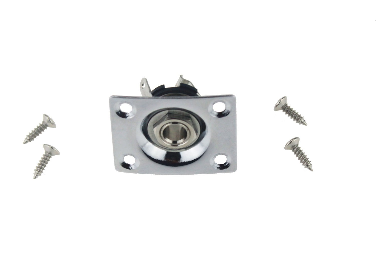 Momo Jack Socket for Electric Guitar Chrome 6.35mm Rectangle Jack Plate with 1//4
