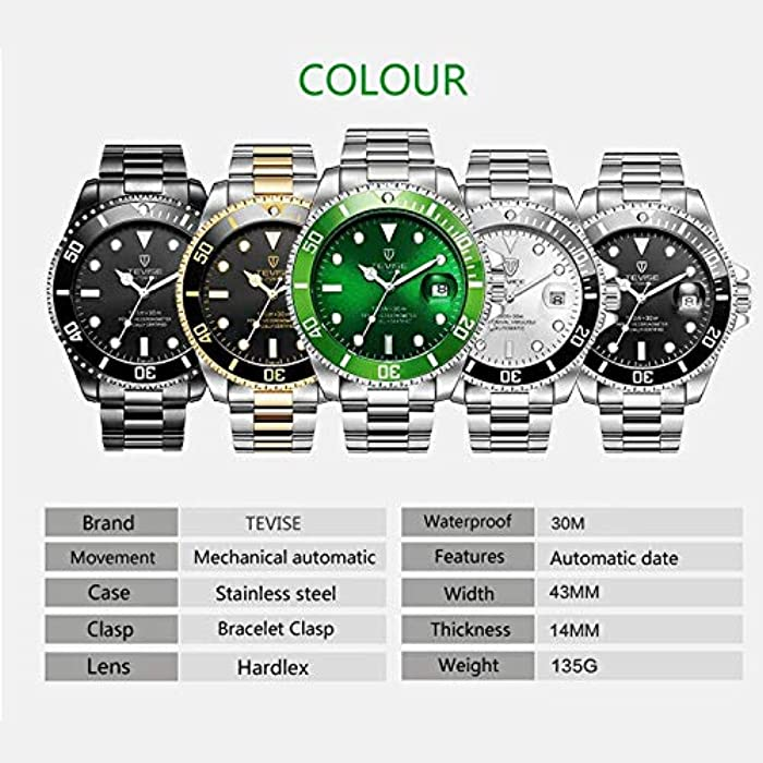 Men Mechanical Automatic Role Date Submariner Clock