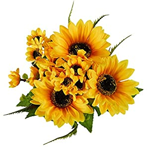 Juvale Artificial Sunflowers - 2 Bunches Sunflower Bouquet in Yellow - Fake Flowers Artificial Plant for Home Decor, Wedding, Party, Patio 4