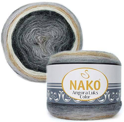 80% Acrylic, 5% Mohair, 15% Wool Yarn NAKO Angora LUKS Color Thread Crochet Lace Hand Knitting Yarn Art Embroidery Lot of 1 skn 150 gr 886 yds Color Gradient 81914