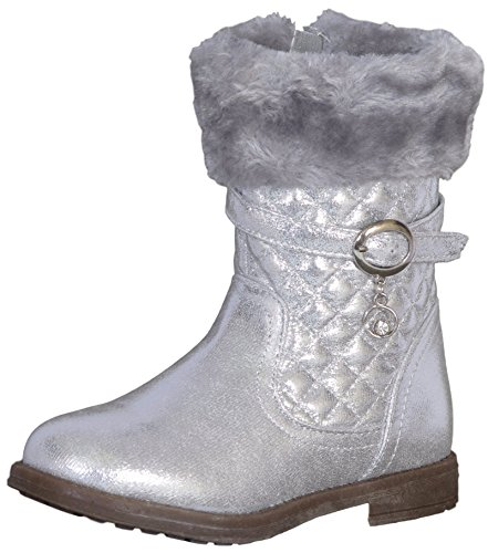 Laura Ashley Toddler Girls Quilted Winter Boot With Faux Fur Cuff, Silver, Size 7' -
