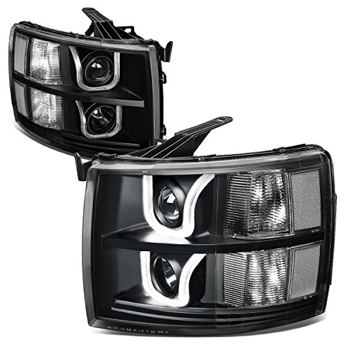For 07-14 Chevy Silverado GMT900 Pair of Black Housing Clear Corner Dual LED U-Halo Projector Headlight