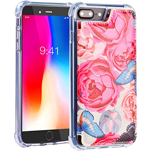 iPhone 8 Plus Wallet Case,iPhone 7 Plus Wallet Case,MISSCASE PU Leather Case Card Holder,Flower Floral Pattern Protective Cover Apple iPhone 7 Plus/ 8 Plus / 6 Plus 5.5