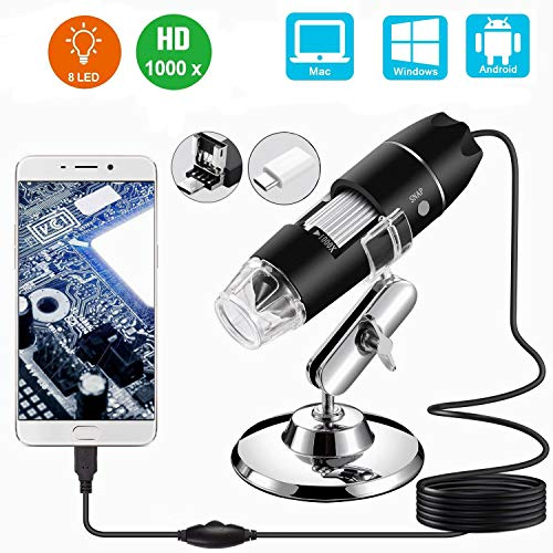 (USB Microscope,1000x Zoom 1080p Digital Mini Microscope Camera with OTG Adapter and Metal Stand, Compatible for Micro USB Type-C Android, Windows Mac Linux)