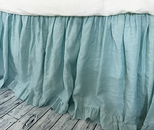 Dove Linen Bed Skirt with Ruffle Hem, Gathered Bed Skirt, Available in Twin, Full, Queen, King, Calif. King, 13-24 drop or custom length, HANDMADE, FREE SHIPPING