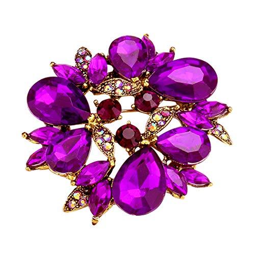 Rosemarie Collections Women's Sparkling Rhinestone Wreath Statement Brooch Pin (Purple) ()