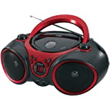 Jensen CD-490 Sport Stereo CD Player with AM/FM Radio and Aux Line-In, Red and Black