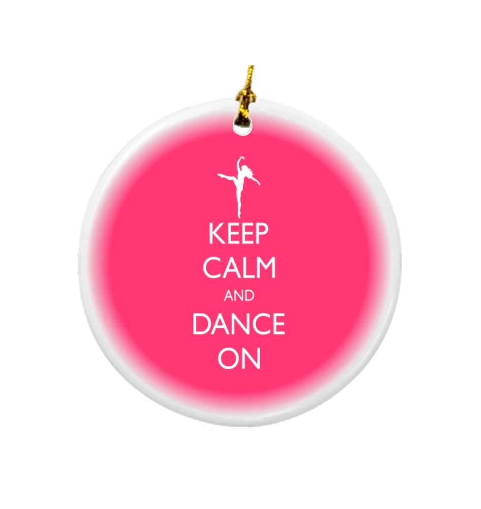Rikki Knight Keep Calm and Dance on Tropical Pink Color Design Round Porcelain Two-Sided Christmas Ornaments