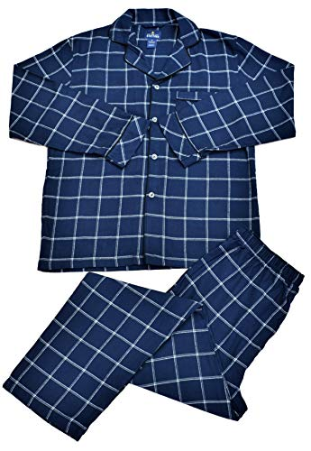(Stafford - Flannel Pajama Set - 2 Piece (Large, Navy Window Pane))