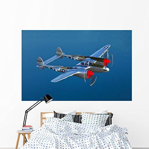 (Lockheed P-38 Lightning Fighter Wall Mural by Wallmonkeys Peel and Stick Graphic (72 in W x 46 in H) WM333615)
