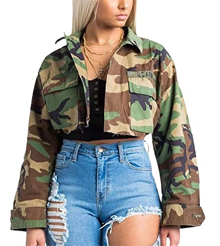 - Antique Style Women's Street Fashion Slim Fit Military Camo Printed Lightweight Outwear Coat Camouflage Short Jacket Safari Jacket Party Club Dress S