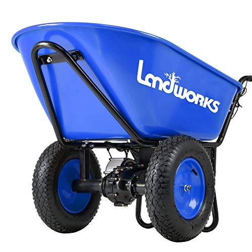 Landworks Super Duty Electric Powered Wheelbarrow Utility Cart 24V DC 180W AGM Battery Driven 330LBS (150kgs) Max Capacity & 4cu.ft. of Cubage Barrel Dump All Purpose Material Debris Hauler