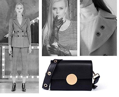 mujeres cuero del bolso Color retro las Color Black retro Púrpura de del bolso sólido de hombro del del Crossbody Bolso genuino cuadrado a0YPfw