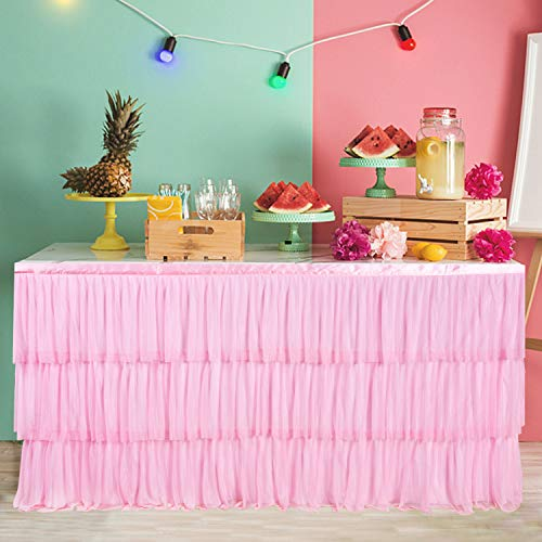 6ft Pink Tulle Tutu Table Skirt with 3 Tier Dust Ruffle Skirting for Round or Rectangular Table for Party, Meeting, Birthday, Wedding Decoration and Home -