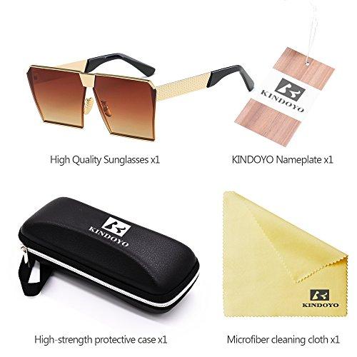 de 400 Polarizado Steampunk KINDOYO Unisex Protección Metal Oro gafas UV Marrón de Sobredimensionado sol Comba Gafas Moda wYCYqxHO