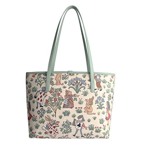 Signare Fashion Women Bag Tapestry Alice Wonderland in Shoulder Tote z4znrSW
