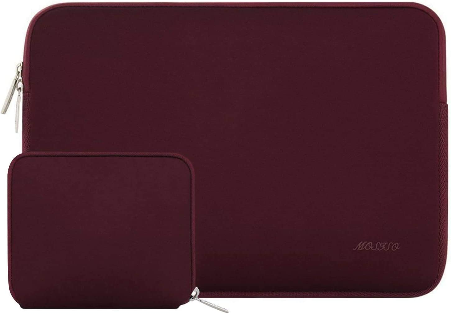 MOSISO Laptop Sleeve Compatible with 15 inch MacBook Pro Touch Bar A1990 A1707, ThinkPad X1 Yoga, 14 Dell HP Acer, 2019 Surface Laptop 3 15, Water Repellent Neoprene Bag with Small Case, Wine Red