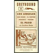 Western Greyhound Bus Schedule LA-San Diego-El Centro-Phoenix-El Paso 1962