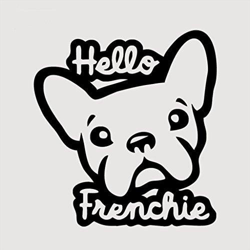 Hello Frenchie French Bulldog Decal Vinyl Sticker|Cars Trucks Vans Walls Laptop| BLACK |5.5 x 5.25 in|CCI544 (Hello Bulldog)