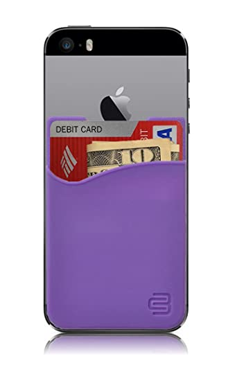 sneakers for cheap 789e0 ebfa5 CardBuddy Stick On Card Holder Wallet, Credit Card Phone Wallet Case for  Any iPhone or Android (Purple)