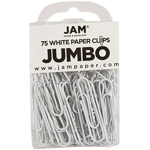 JAM Paper Colored Jumbo Paper Clips - White Paperclips - 75/pack