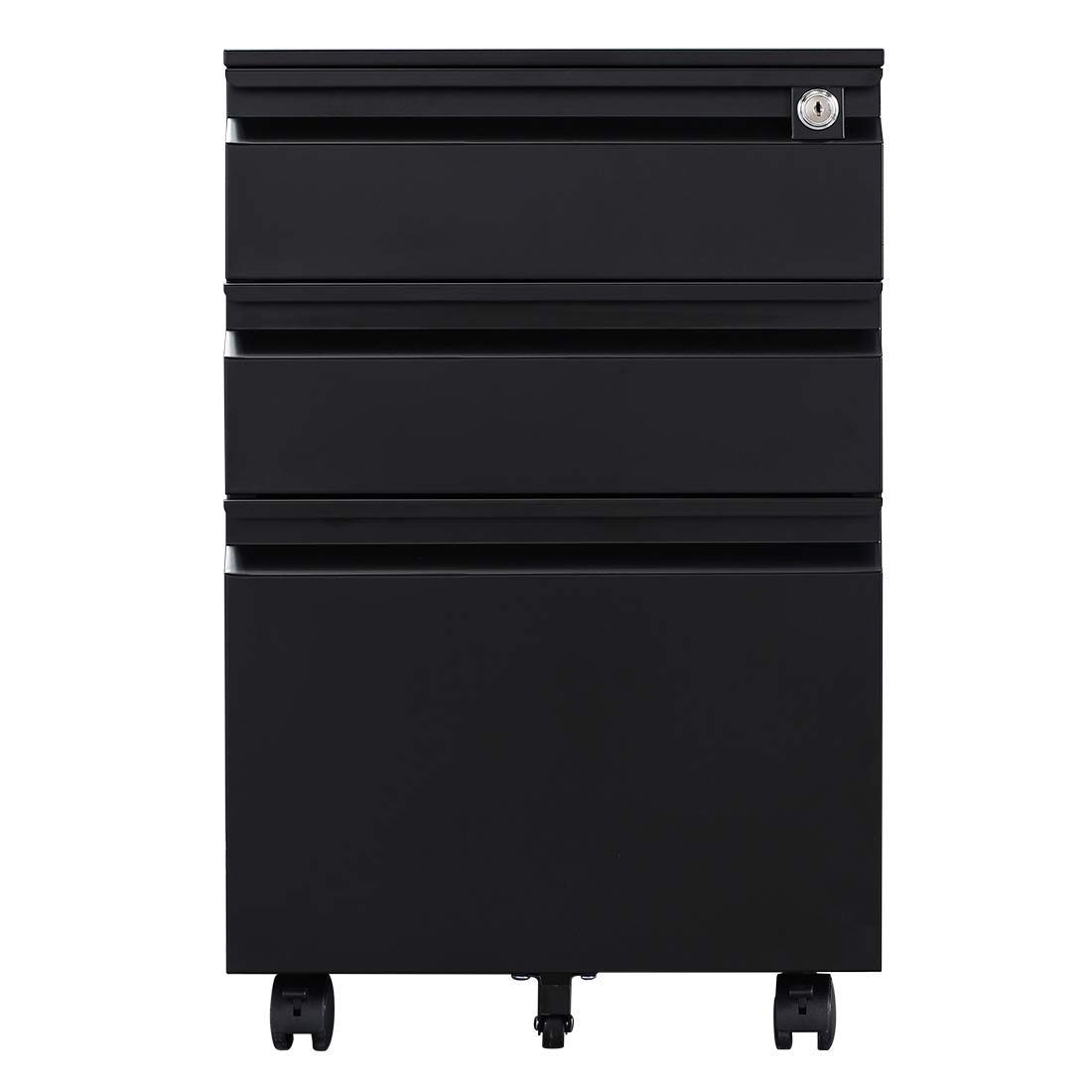 GREATMEET Metal Mobile File Cabinet with Lock,Fully Disassembled 3 Drawer Locking Filing Cabinet Legal/Letter Size (Black) by GREATMEET