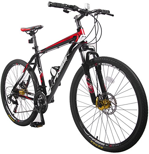 Merax Finiss 26' Aluminum 21 Speed Mountain Bike with Disc Brakes (Style White&Red)