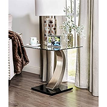 Amazon.com: Mesa de cristal con acabado en satén de Bowery ...