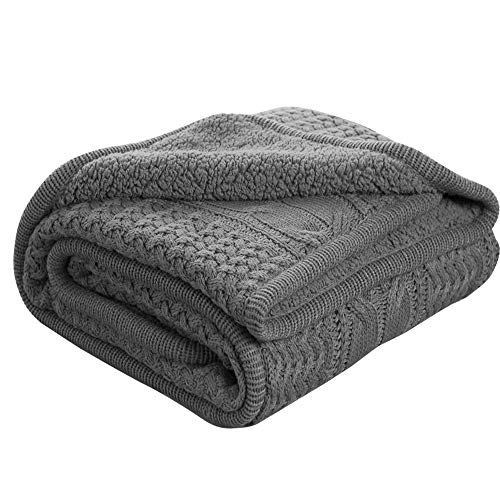 Bedsure Knitted Sherpa Throw Blanket Grey Knit-Sherpa 50x60 Rustic Home Decor Bedding (Afghan Blanket)