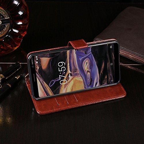 COQUE Caja del teléfono de Nokia 7 Plus, billetera del tirón del cuero de imitación del estilo del libro con la caja de la ranura para tarjeta para Nokia 7 Plus(Blanco) Negro