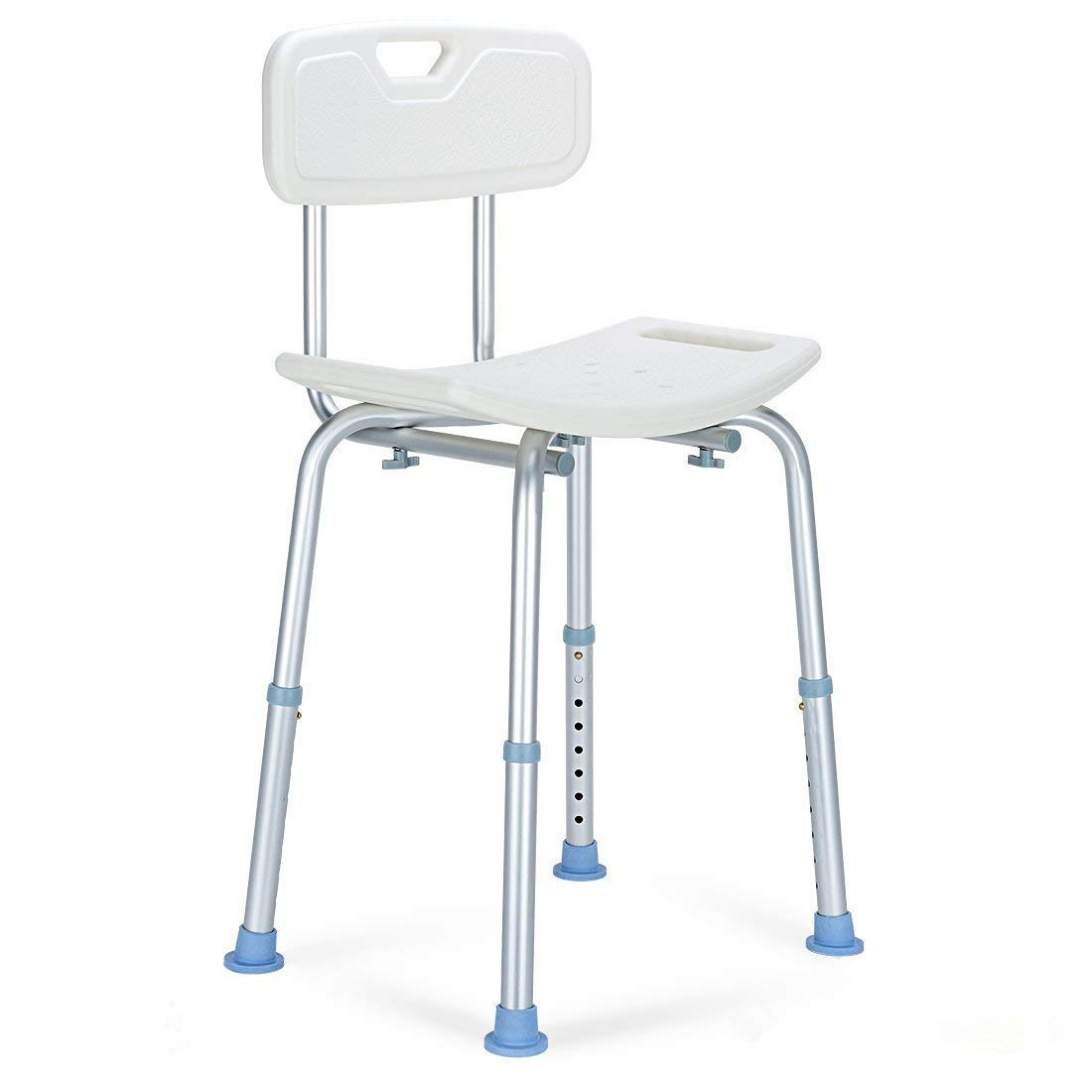 OasisSpace Shower Chair with Back, Heavy Duty Adjustable Shower Seat Stool - Medical Tool Free Anti-Slip Bathtub Seat Bench Lightweight and Durable for Elderly, Senior, Handicap, Disabled