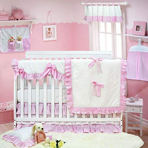 - Brandream Classic Crib Bedding Sets for Girls with Crib Rail Cover White Pink Ruffle Baby Nursery Bedding, 100% Hypoallergenic Cotton, 9 Pieces
