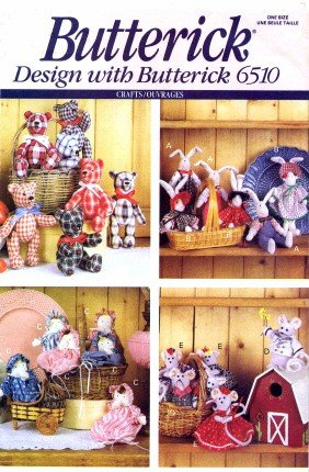 Butterick 6510 Crafts Sewing Pattern Little Friends Bunny Bear Mouse ...