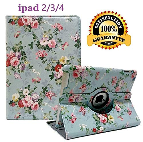 iPad 2/3/4 Case - 360 Degree Rotating Stand Smart Case Protective Cover with Auto Wake Up/Sleep Feature for Apple iPad 4, iPad 3 & iPad 2 (Green florets)
