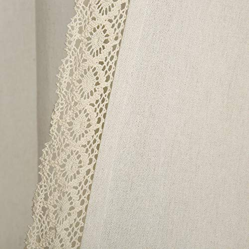 "Lush Decor Rosalie Window Curtains Farmhouse, Rustic Style Panel Set for Living, Dining Room, Bedroom (Pair), 84"" x 54"", Ivory 3"