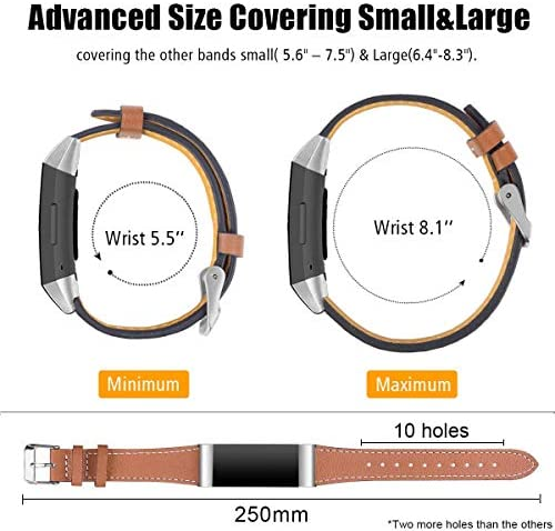 Hotodeal Leather Band Compatible Charge 3, Classic Replacement Genuine Leather Bands Metal Connectors Women Men Small Large Size Silver, Rose Gold, Black 6