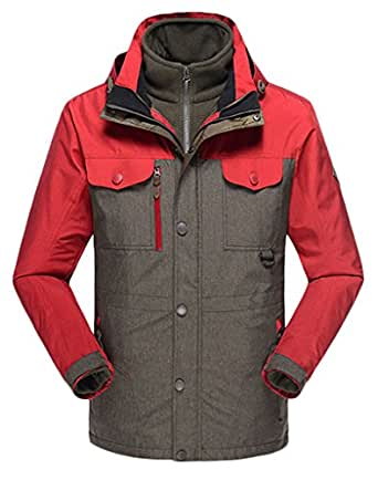 WenVen Couple's Waterproof Fleece Mountain Jacket&Ski Jacket (Army Green, M)