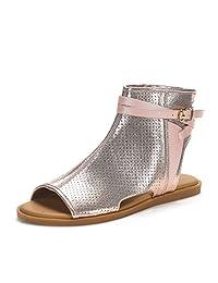 DREAM PAIRS RUULE New Women Open Toe Fashion Mesh Side Zipper Summer Design Flat Sandals
