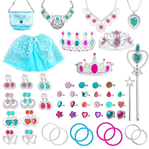 WATINC 60Pcs Princess Pretend Jewelry Toy, Girl's Jewelry Dress Up Play Set,Included Blue Shiny Handbag, Blue Adjustable Skirt, Crowns, Necklaces,Wands, Rings,Earrings and Bracelets for Little Girls ()