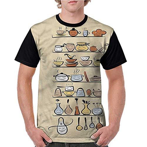 Raglan Short Sleeve Shirts,Vintage,Doodle Kitchen Appliances S-XXL Ladies Baseball Tee ()