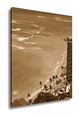 Ashley Canvas Beautiful Waikiki Beach Sunny Day In Honolulu Hawaii, Wall Art Home Decor, Ready to Hang, Sepia, 20x16, AG6403021 by Ashley Canvas