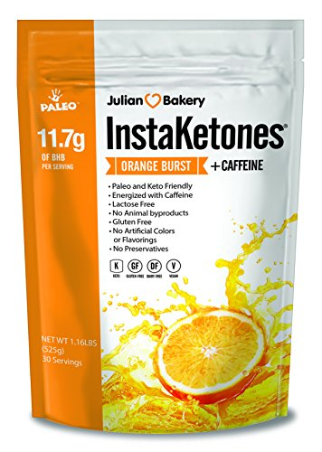 Julian Bakery's InstaKetones 11.7g GoBHB per Scoop +Organic Caffeine (Orange Burst) (1 Pack) (+Caffeine) (30 Servings) Exogenous Ketones by Julian Bakery