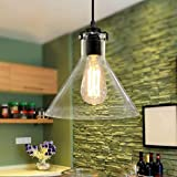 Lightess Pendant Lights Industrial Vintage Glass Pendant Lamp Hanging Ceiling Lighting Fixture with 1 Head for Kitchen Dining Room