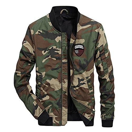 Chaqueta uniforme de otoño e invierno de hombres jóvenes encajan en una chaqueta de camuflaje del ejército oscuro uniforme ,,66038 XL