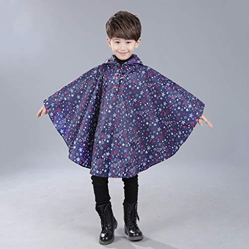 Yu2d  Children's Cloak Beautiful Star Print Waterproof Children's Poncho Raincoat (S) -
